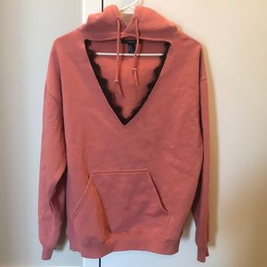 Forever21 Coral Cut Out Lace Hoodie